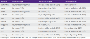 Reasons for Delay of Payments in SME cycle